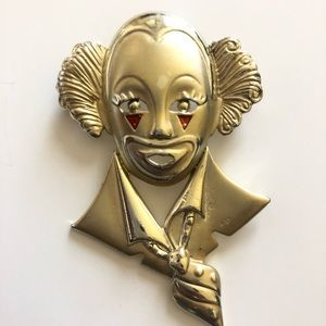 Vintage Gold Plated Clown Face Brooch